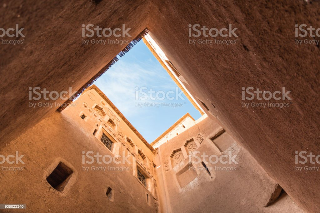 View up in courtyard in Taourirt Kasbah in Ouarzazate, Morocco stock photo