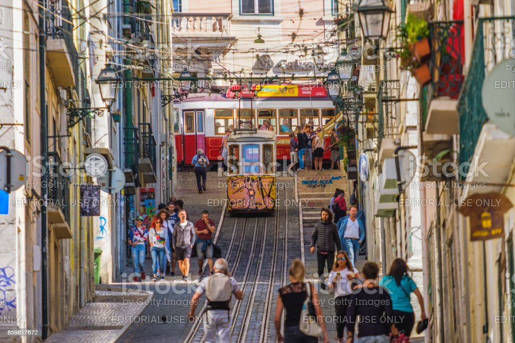 View Up the the Ascensor da Bica in Lisbon stock photo