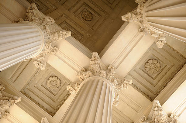 View upwards beneath neoclassical columns Neoclassical columns neo classical stock pictures, royalty-free photos & images