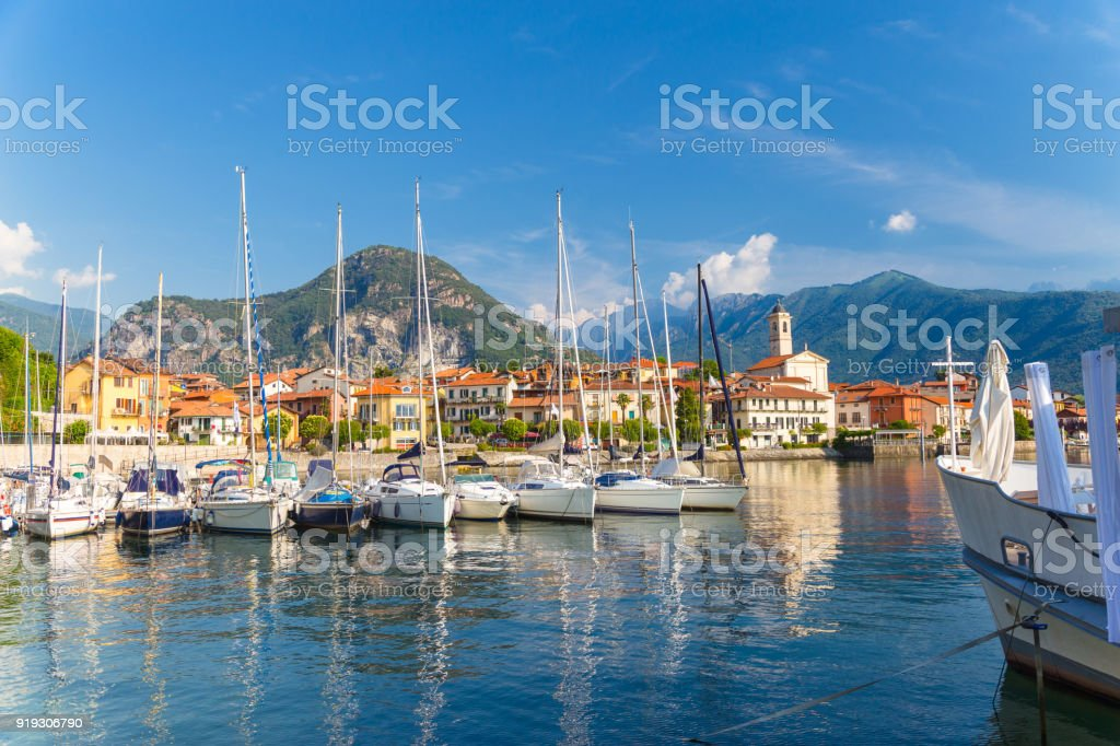 View village of Feriolo on Lake Maggiore, Piedmont Italy. stock photo