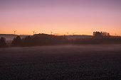 View wind turbine farm on morning