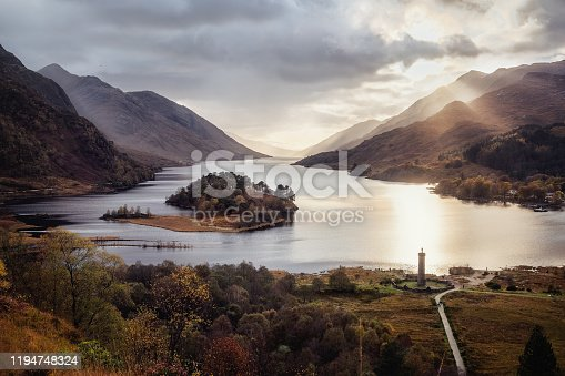 Panoramic view with famous Scottish lake Loch Shiel with Glenfinnan monument and island on sunset, Scotland.