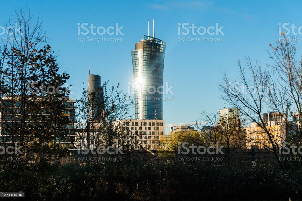 WARSAW, POLAND - NOVEMBER 2017. View with Golden Terraces, Zlota 44 skyscraper, Warsaw Towers, InterContinental Hotel, Warsaw Financial Center in Warsaw stock photo