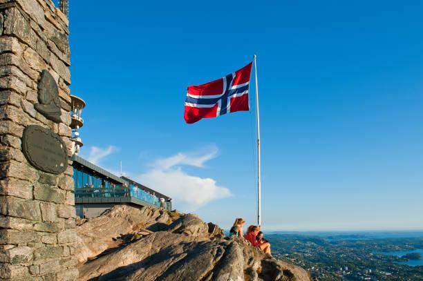 blick mit norwegischer flagge vom berg ulriken in bergen, norwegen - norwegen fahne stock-fotos und bilder