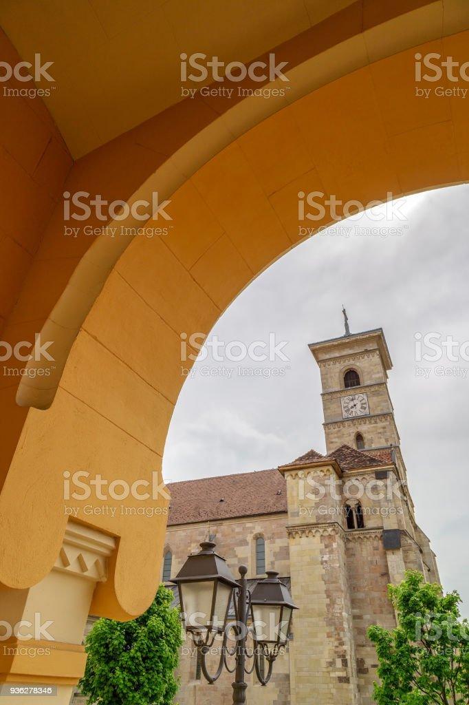 View with Saint Michael Roman Catholic Cathedral, Alba Iulia, Romania stock photo