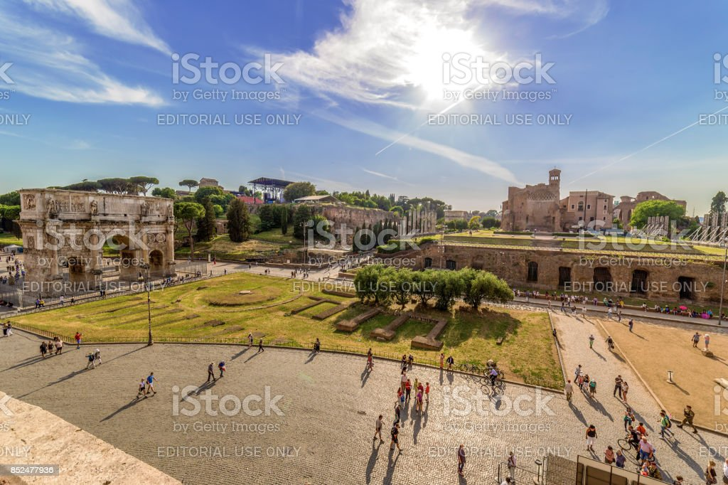 View with Temple of Venus and Arch of Constantine stock photo