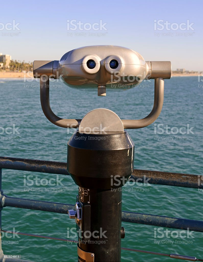 Viewfinder - binoculars on the beach in Southern California stock photo