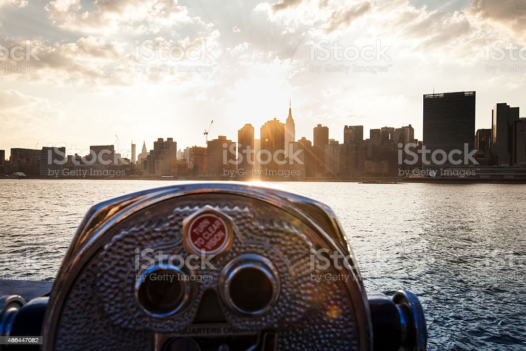 Viewfinder overlooking the New York City Skyline stock photo