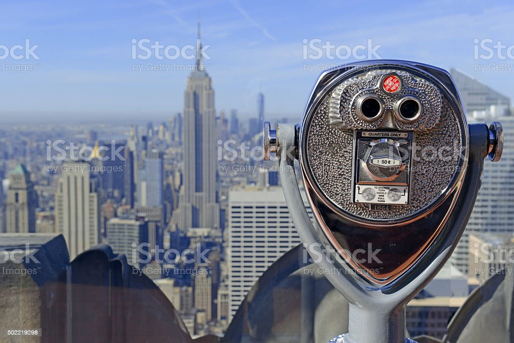 Viewfinder peering out to the Manhattan skyline, New York City stock photo