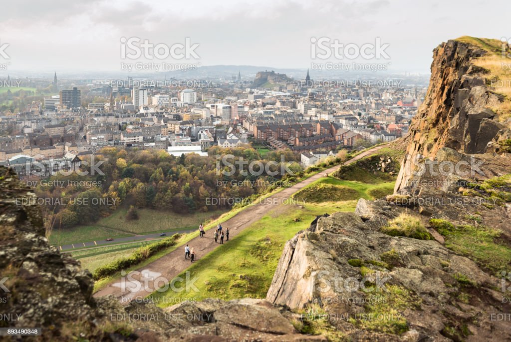 Viewing Edinburgh from Salisbury Crags stock photo