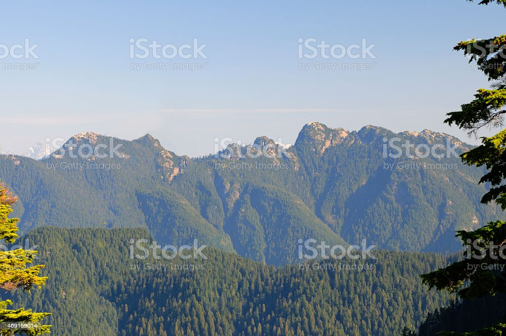 Viewing Mountains from Grouse Mountain stock photo