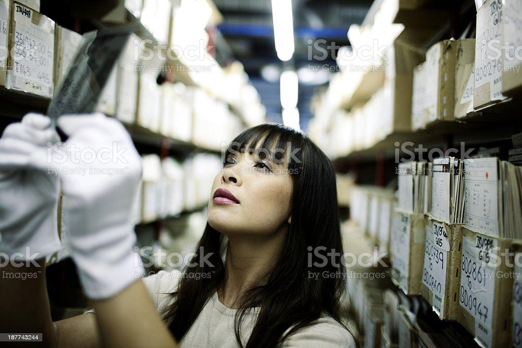 Viewing negatives. stock photo
