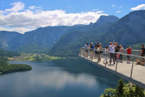 Viewing Platform in Hallstatt with a spectacular view of Lake Hallstatt, Austria, Europe. stock photo