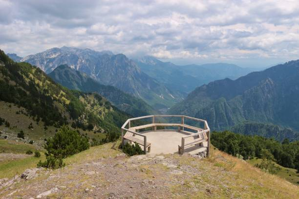 viewing platform on the top of a mountain pass road in the theth national park, north albania. - cursed stock pictures, royalty-free photos & images