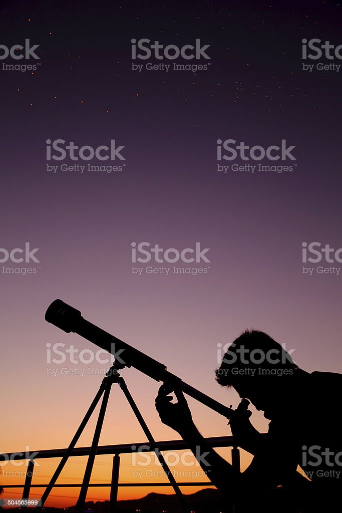 Viewing Stars through telescope royalty-free stock photo