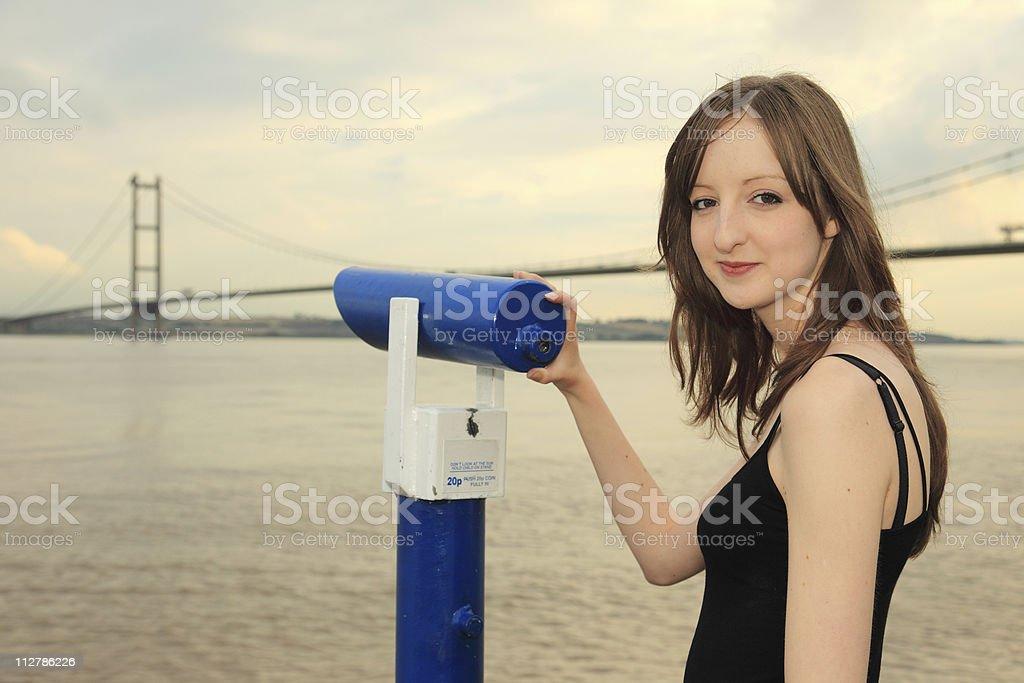 Viewing the Humber Bridge royalty-free stock photo