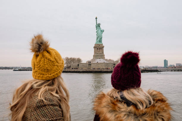 Viewing the Statue of Liberty stock photo
