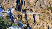 istock Viewpoint above snowcapped mountains near Sumela Monastery. 1220810136