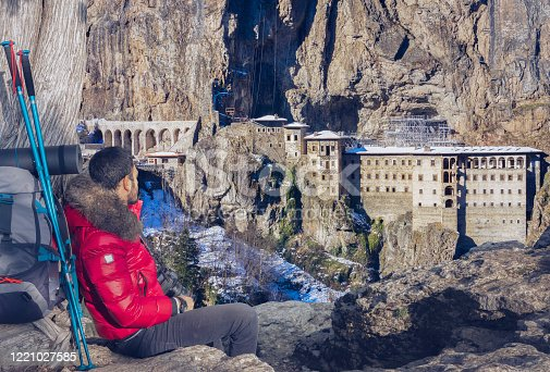 Aerial view of Sumela Monastery in Trabzon, Turkey. This Monastery is a Greek Orthodox monastery which dedicated to the Virgin Mary.