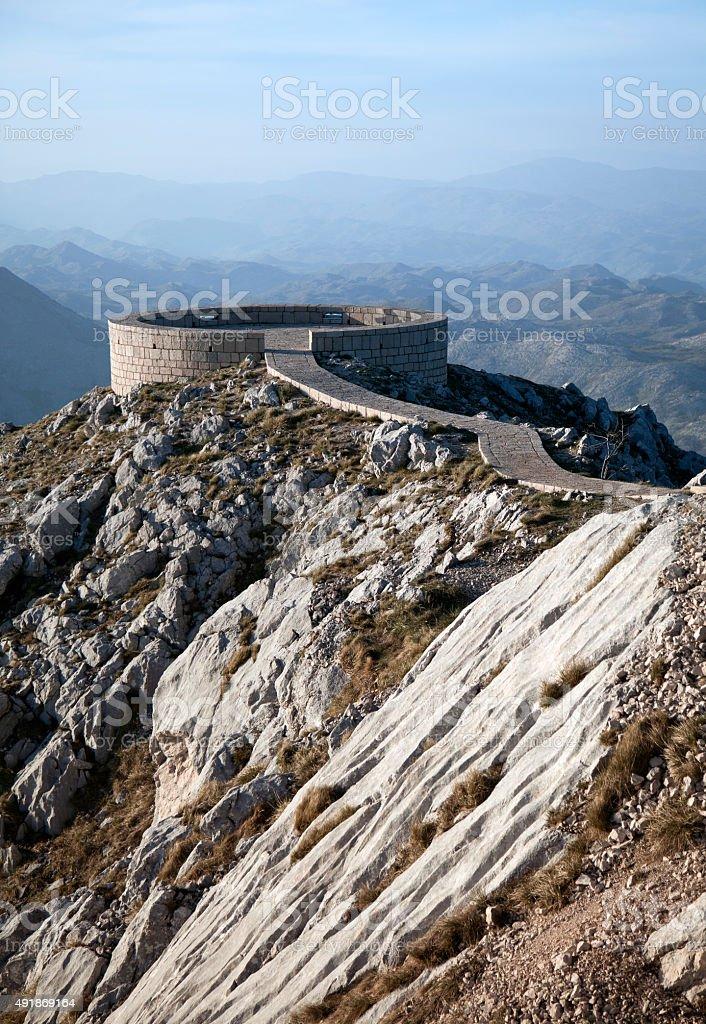 Viewpoint at prince Njegos mausoleum stock photo
