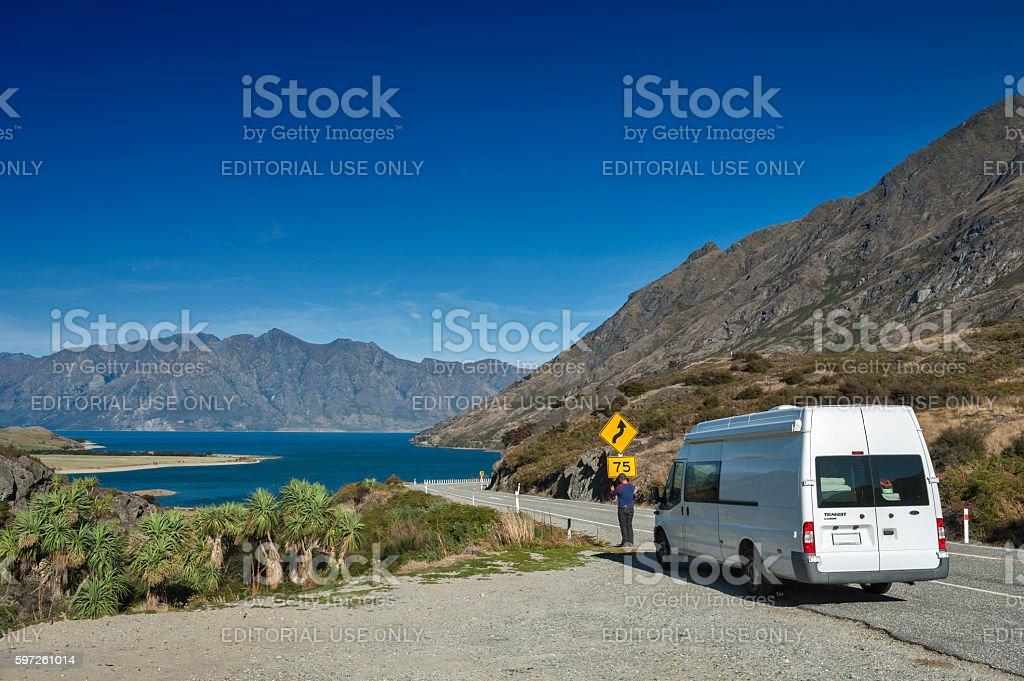 Viewpoint at The Neck of Lake Wanaka and Lake Hawea stock photo