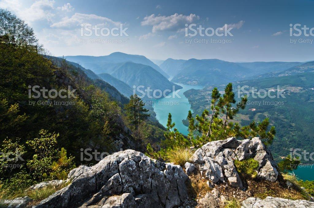 Viewpoint Banjska rock at Tara mountain looking down to Canyon of Drina river royalty-free stock photo