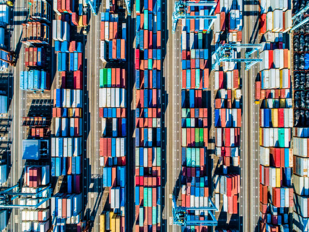 viewpoint from the sky where containers are arranged. - container foto e immagini stock