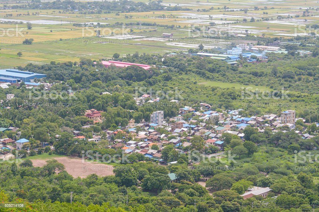 Viewpoint  from the top of Mandalay hill in Myanmar stock photo