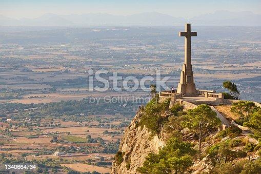 istock Viewpoint in Mallorca. Cruz del Picot. San Salvador santuari. Landmark 1340664734