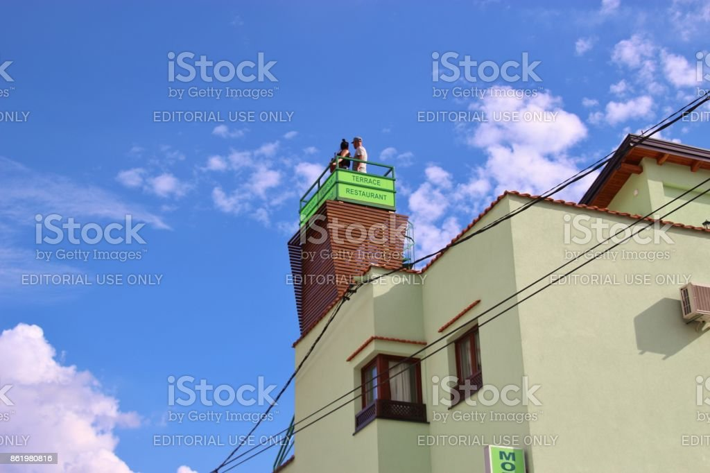 Viewpoint  in the old town of Mostar, Bosnia and Herzegovina. stock photo