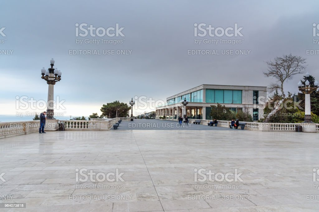 Viewpoint in Upland park in the evening. Baku. Azerbaijan - Royalty-free Aerial View Stock Photo