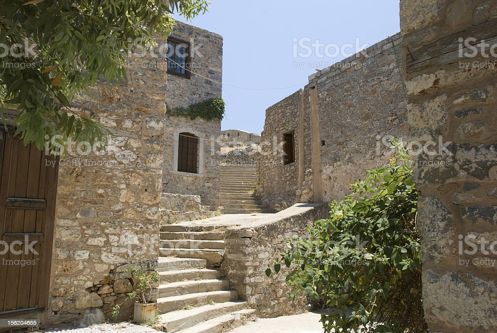Viewpoint Leprosy Island of Spinalonga, Crete, Greece stock photo