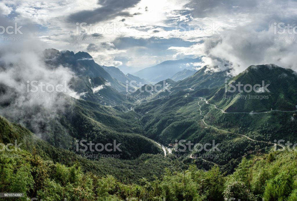 Viewpoint of mountain range highest on fog in Tram Ton Pass royalty-free stock photo