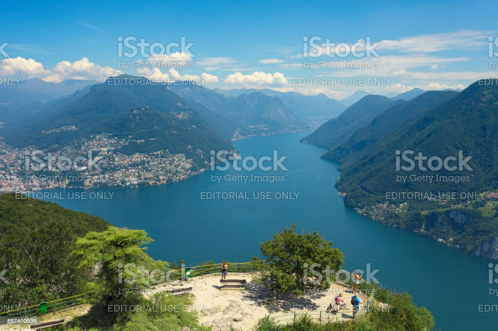 Viewpoint over Lake Lugano stock photo