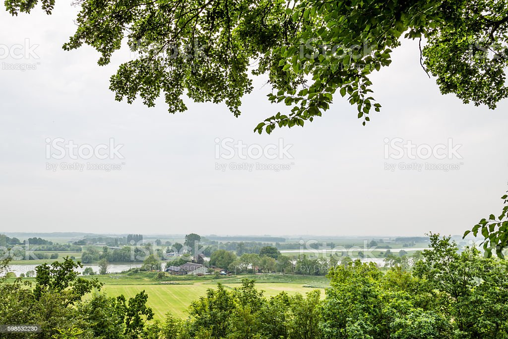 Viewpoint river Rhine from the Arboretum in Wageningen Netherlan photo libre de droits