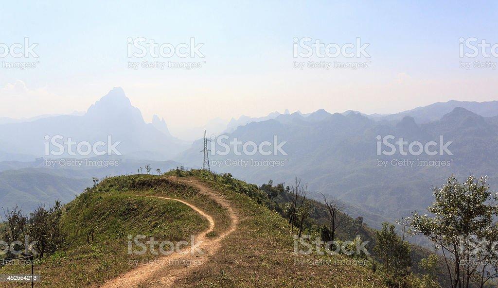 Viewpoint  the parking way from Vang Vieng to Luang Prabang. stock photo