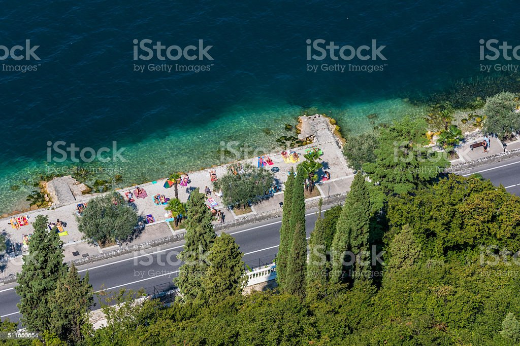 Viewpoint to Garda Lake in Italy stock photo