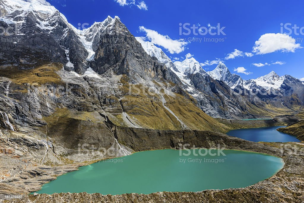 Viewpoint Tres lagunas in Peruvian Andes, South America stock photo