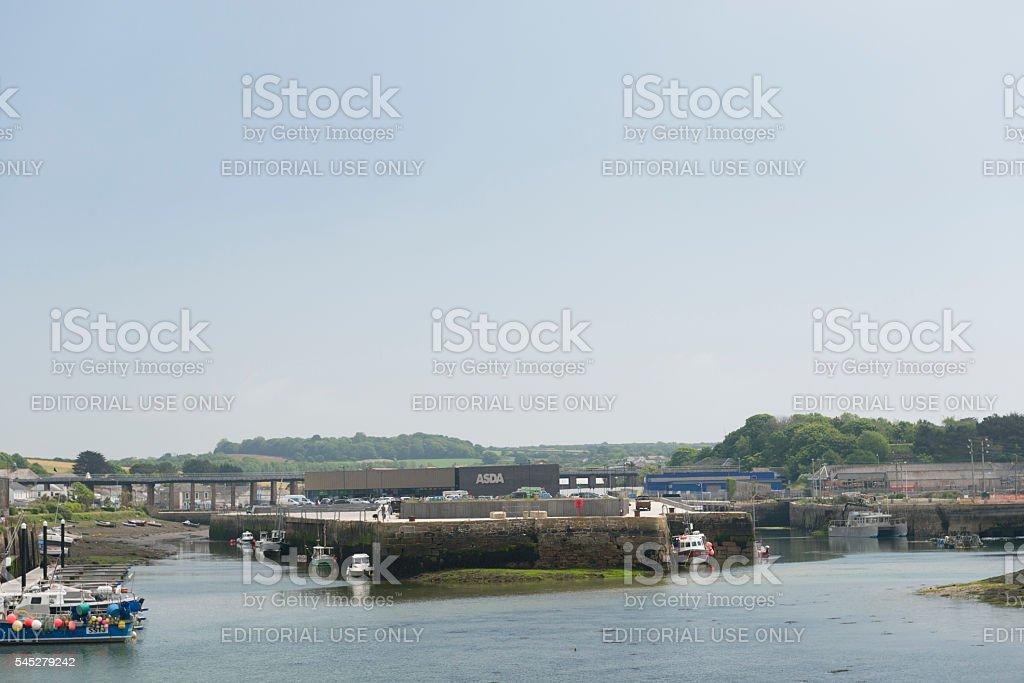 Views across Hayle Harbour towards Asda store stock photo