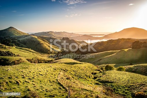 Views across Otago Peninsula, Harbour Cone and Hoopers Inlet at sunrise
