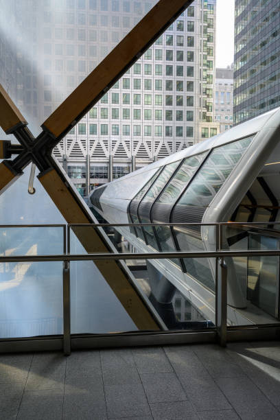 Views available when walking through Canary Wharf stock photo