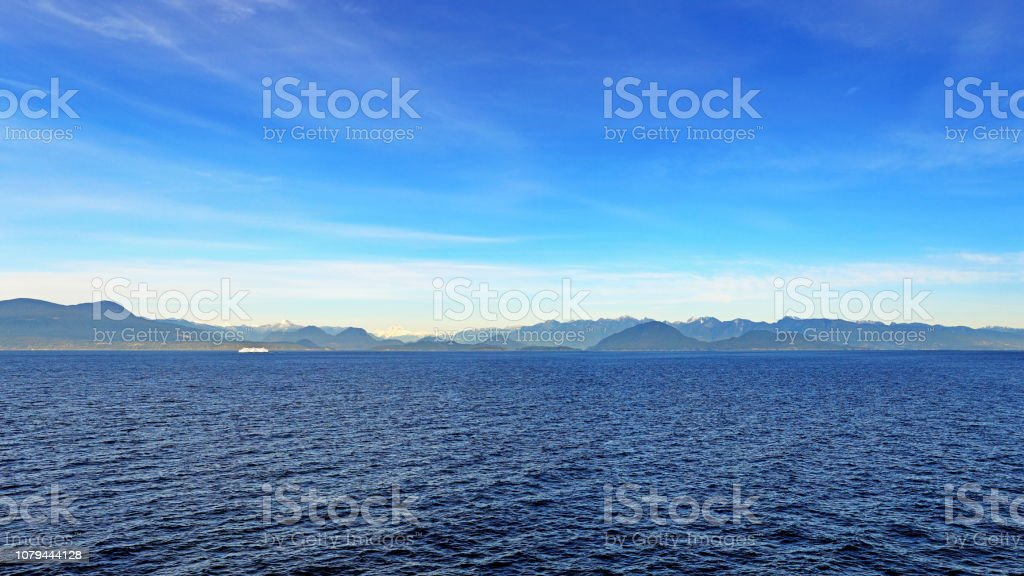Views between Nanaimo and Horseshoe Bay, Salish Sea, panorama. stock photo