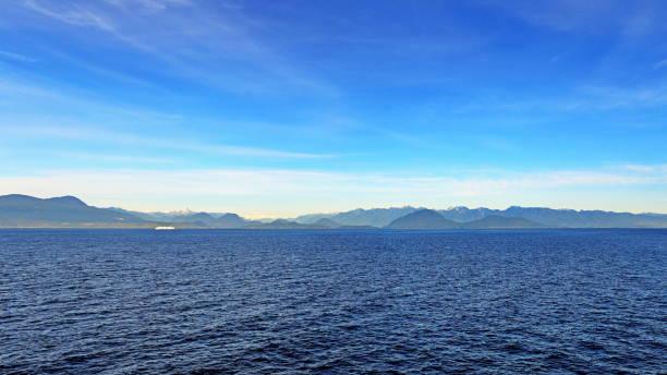 Views between Nanaimo and Horseshoe Bay, Salish Sea, panorama. stock photo