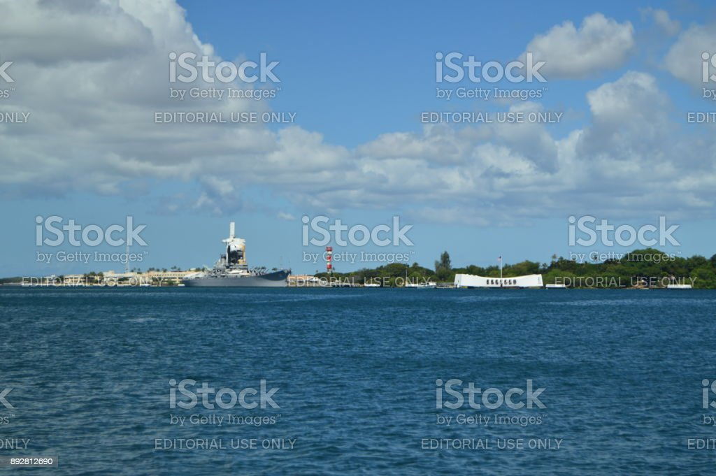 Views From Earth Of The USS Arizona Memorial. stock photo