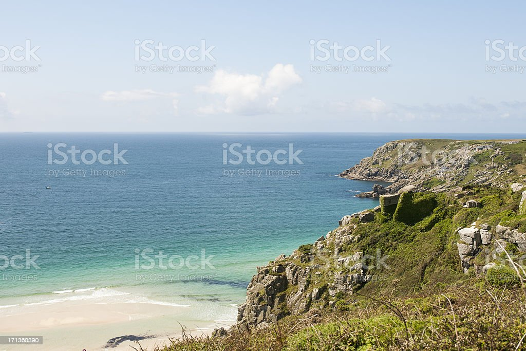 views from the cliffs above Pend Vouder Beach Cornwall stock photo