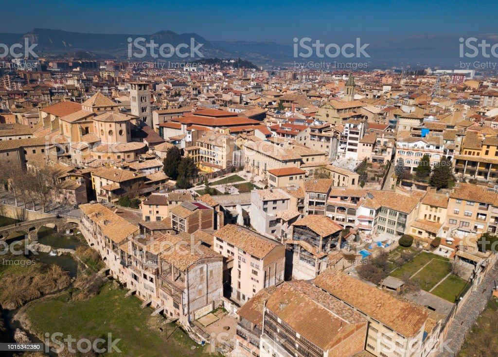 Vistas a partir da altura da parte histórica de Vic, Catedral - foto de acervo