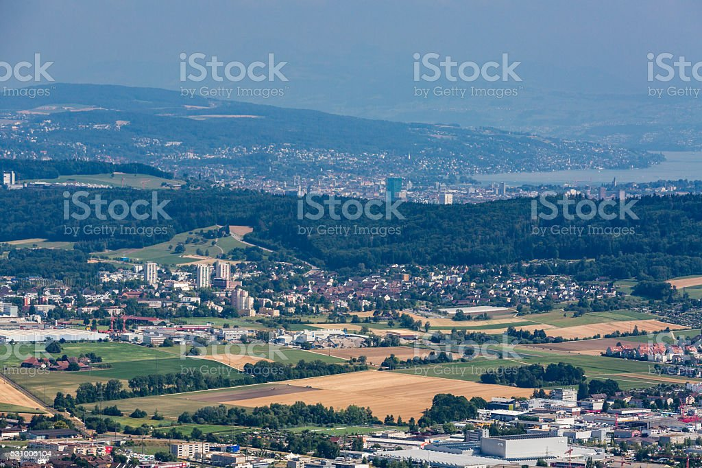 Views from to Mountain Lagern to Zurich stock photo