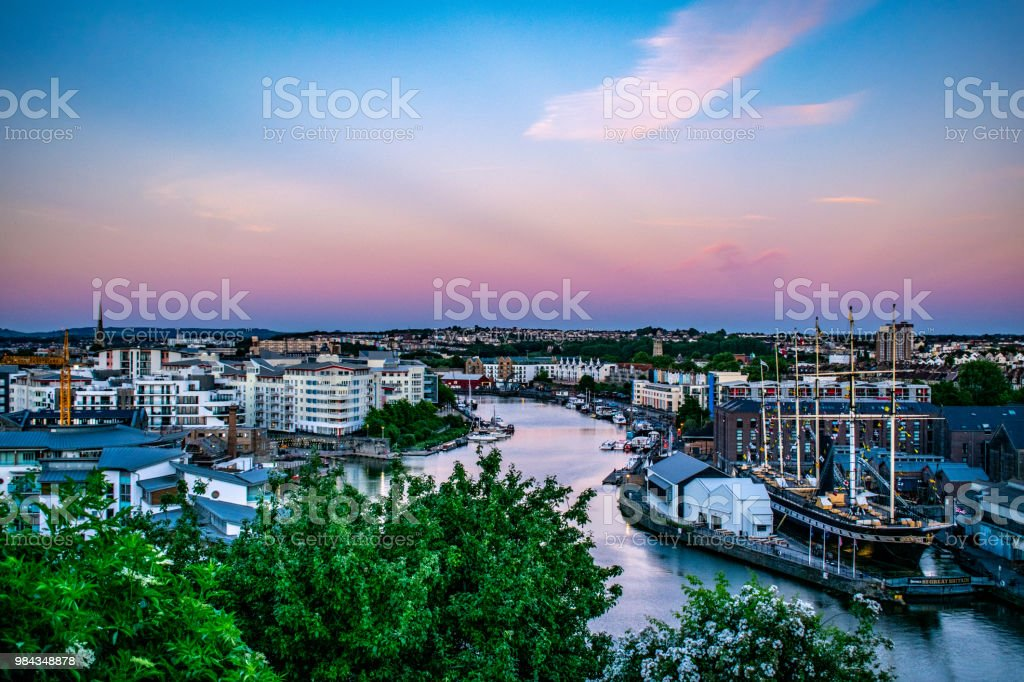 Views of Bristol Harbour and the SS Great Britain stock photo