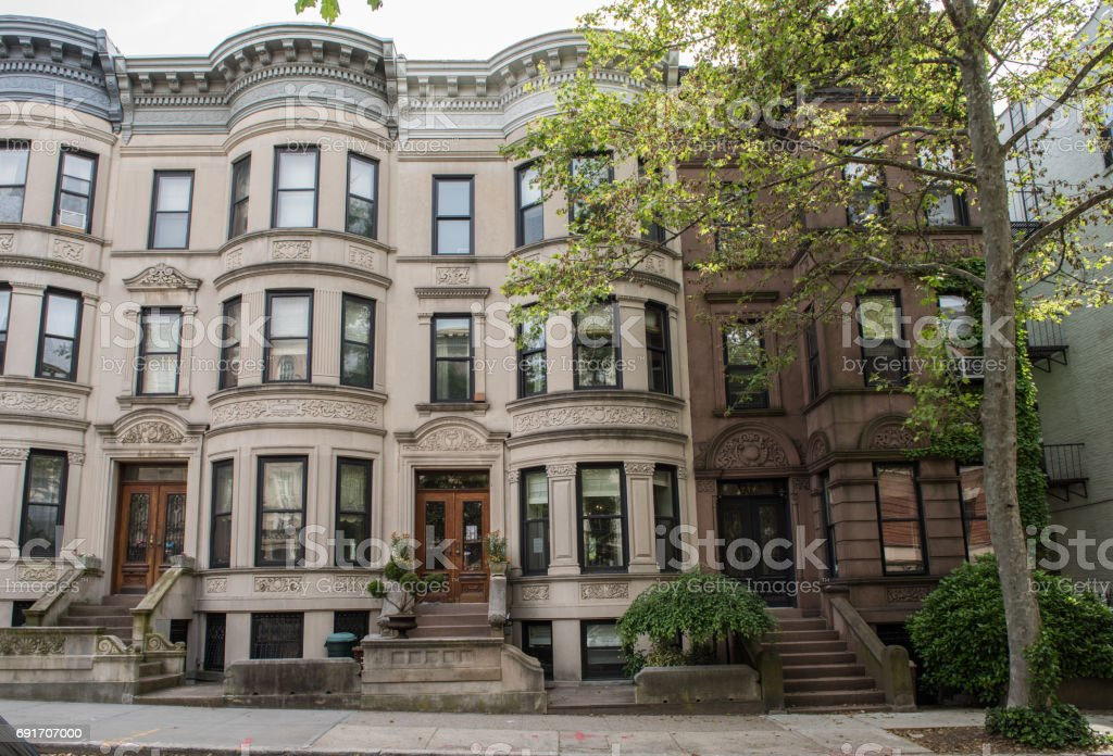 Views of classic brownstone homes & exteriors in the Park Slope neighborhood of Brooklyn stock photo