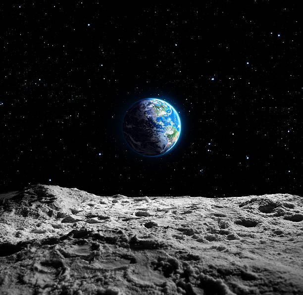 views of earth from the moon surface - moon stockfoto's en -beelden